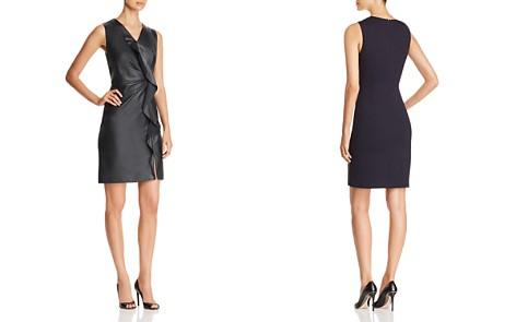 Elie Tahari Marsala Leather Front Dress - Bloomingdale's_2