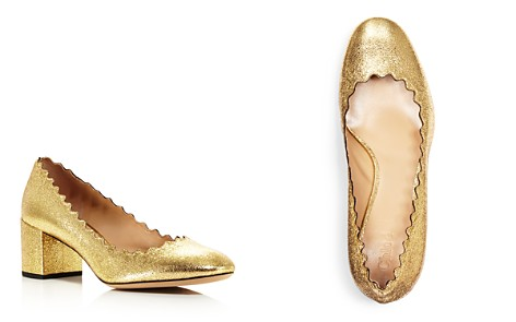 Chloé Women's Lauren Round Toe Metallic Leather Pumps - Bloomingdale's_2