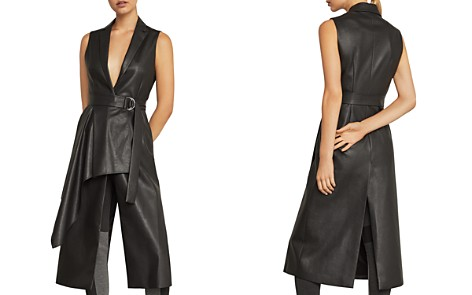 BCBGMAXAZRIA Draped Faux Leather Vest - Bloomingdale's_2