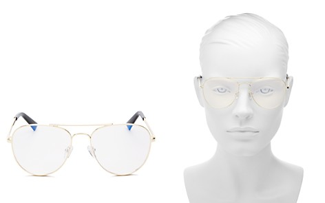 The Book Club Women's Hard Crimes Brow Bar Aviator Blue Screen Filter Glasses, 55mm - Bloomingdale's_2