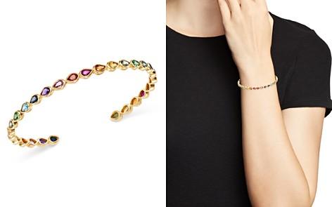 SheBee 14K Yellow Gold Sapphire, Blue Topaz, Amethyst & Tsavorite Rainbow Cuff Bracelet - Bloomingdale's_2