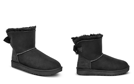 UGG® Women's Mini Bow Round Toe Suede & Sheepskin Boots - Bloomingdale's_2