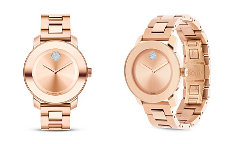 Movado BOLD Medium Rose Gold Plated Stainless Steel Watch, 36mm - Bloomingdale's_2
