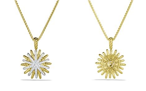 David Yurman Starburst Small Pendant with Diamonds in Gold on Chain - Bloomingdale's_2