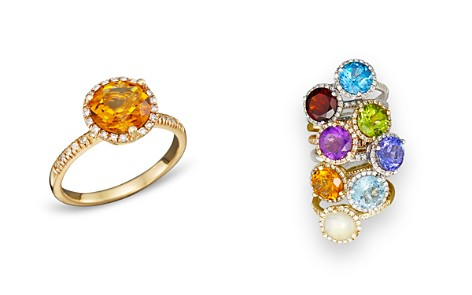 Citrine and Diamond Halo Ring in 14K Yellow Gold - 100% Exclusive - Bloomingdale's_2