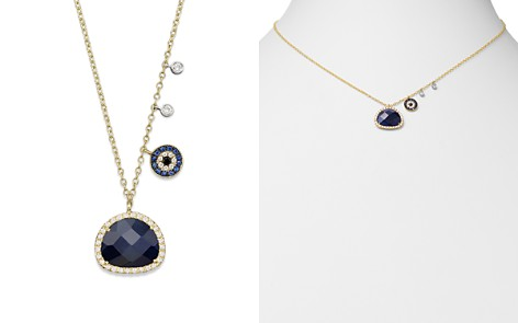 """Meira T 14K Yellow Gold Sapphire Evil Eye Disc Necklace with 14K White Gold Side Bezels, 16"""" - Bloomingdale's_2"""