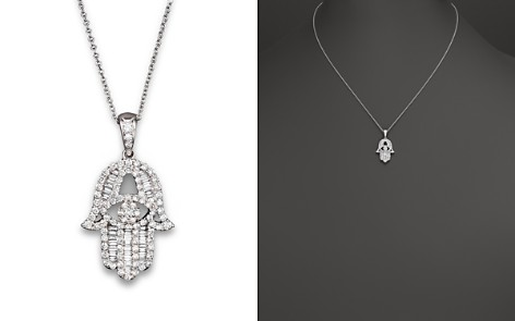 Diamond and Baguette Hamsa Pendant Necklace in 14K White Gold, .55 ct. t.w. - 100% Exclusive - Bloomingdale's_2