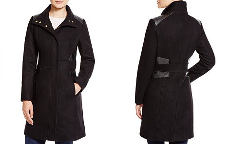 Via Spiga Faux Leather Trim Coat - Bloomingdale's_2
