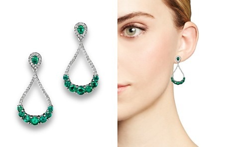 Emerald and Diamond Drop Earrings in 14K White Gold - 100% Exclusive - Bloomingdale's_2