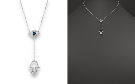 Evil eye jewelry bloomingdales sapphire and diamond evil eye hamsa y necklace in 14k white gold 16 aloadofball Image collections