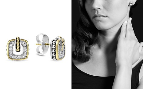 LAGOS Sterling Silver Classic Stud Earrings with 18K Gold and Diamonds - Bloomingdale's_2