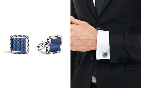 John Hardy Classic Chain Sterling Silver Enamel Square Cufflinks with Transparent Blue Enamel - Bloomingdale's_2