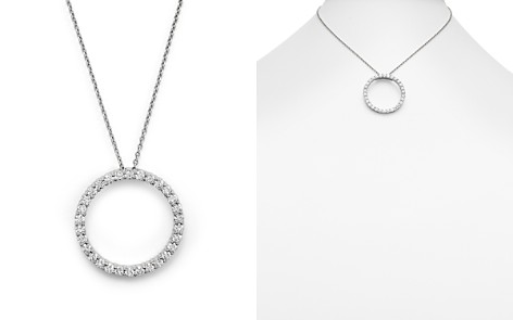 "Roberto Coin 18K White Gold and Diamond Large Circle Necklace, 16"" - Bloomingdale's_2"