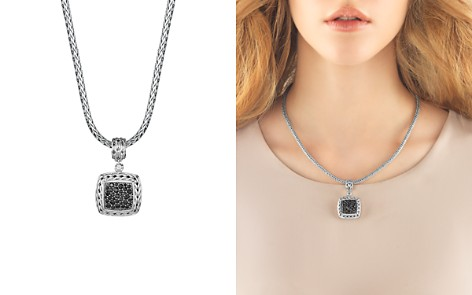 John Hardy Sterling Silver Classic Chain Medium Square Pendant with Black Sapphire - Bloomingdale's_2