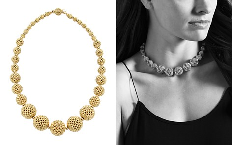 "LAGOS 18K Gold Caviar Graduated Lattice Ball Statement Necklace, 16"" - Bloomingdale's_2"