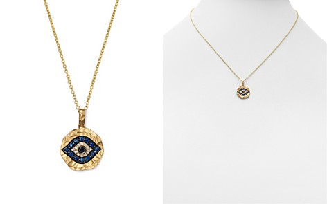 Evil eye jewelry bloomingdales white diamond black diamond and sapphire evil eye pendant necklace in 12k yellow gold aloadofball Images