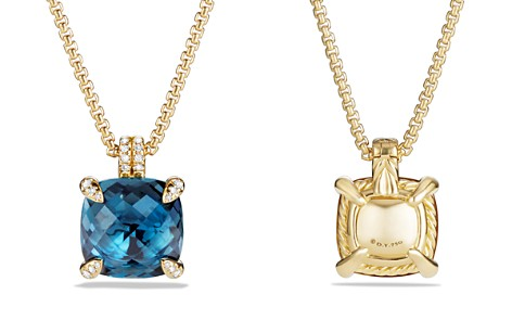 David Yurman Châtelaine Pendant Necklace with Hampton Blue Topaz and Diamonds in 18K Gold - Bloomingdale's_2