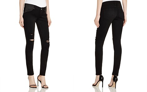 Paige Denim Verdugo Skinny Maternity Jeans in Black Shadow Destructed - Bloomingdale's_2