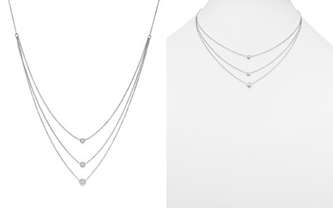 Diamond Three Station Bezel Necklace in 14K White Gold, .50 ct. t.w. - 100% Exclusive - Bloomingdale's_2