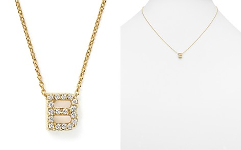 "Roberto Coin 18K Yellow Gold and Diamond Initial Love Letter Pendant Necklace, 16"" - Bloomingdale's_2"