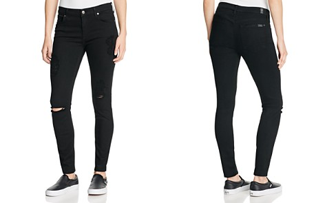 7 For All Mankind b(air) Destroyed Skinny Ankle Jeans in Black - Bloomingdale's_2