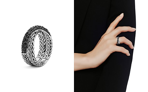 John Hardy Sterling Silver Classic Chain Overlap Ring with Black Sapphire - Bloomingdale's_2