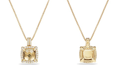 David Yurman Châtelaine Pavé Bezel Pendant Necklace with Champagne Citrine and Diamonds in 18K Gold - Bloomingdale's_2