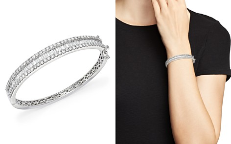 Diamond Round and Baguette Bangle in 14K White Gold, 5.0 ct. t.w. - 100% Exclusive - Bloomingdale's_2