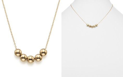 """14K Yellow Gold Five Bead Pendant Necklace, 18"""" - 100% Exclusive - Bloomingdale's_2"""