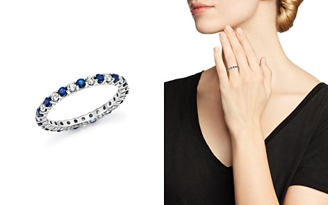 Diamond and Blue Sapphire Eternity Band in 14K White Gold - 100% Exclusive - Bloomingdale's_2