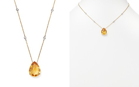 """Citrine Teardrop Pendant and Diamond Necklace in 14K White and Yellow Gold, 16"""" - 100% Exclusive - Bloomingdale's_2"""