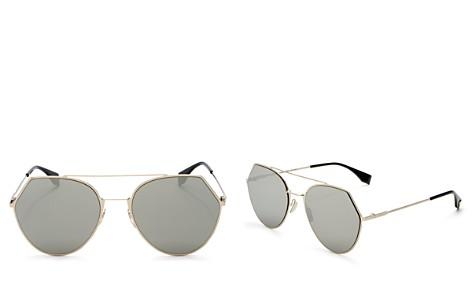 Fendi Women's Mirrored Brow Bar Round Sunglasses, 55mm - Bloomingdale's_2