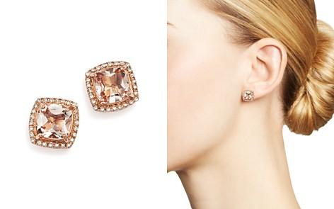 Morganite Stud Earrings With Diamonds In 14k Rose Gold 100 Exclusive Bloomingdale