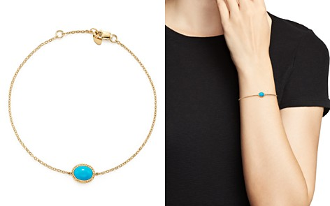 Oval Bezel Set Turquoise Chain Bracelet in 14K Yellow Gold - 100% Exclusive - Bloomingdale's_2