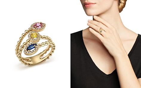 Multi Sapphire and Diamond Beaded Coil Ring in 14K Yellow Gold - 100% Exclusive - Bloomingdale's_2