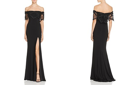 Faviana Couture Off-the-Shoulder Lace-Detail Gown - Bloomingdale's_2