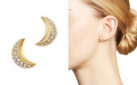 Temple St. Clair 18K Yellow Gold Cresent Moon Earrings with Pavé Diamonds - 100% Exclusive - Bloomingdale's_2