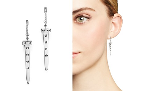 Roberto Coin 18K White Gold Pois Moi Chiodo Drop Earrings with Diamonds - 100% Exclusive - Bloomingdale's_2