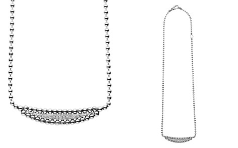 "LAGOS Sterling Silver Caviar Spark Diamond Half Moon Necklace, 16"" - Bloomingdale's_2"