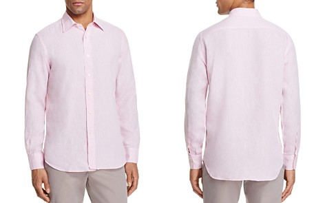 Canali Solid Linen Regular Fit Button-Down Shirt - Bloomingdale's_2