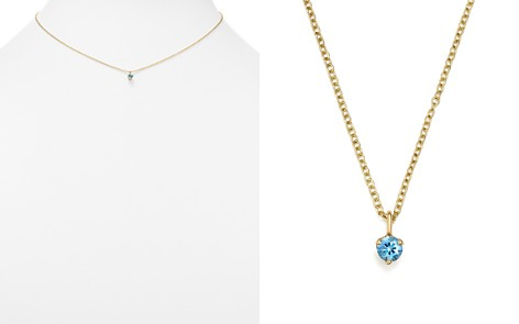 "Zoë Chicco 14K Yellow Gold and Aquamarine Pendant Necklace, 14"" - 100% Exclusive - Bloomingdale's_2"