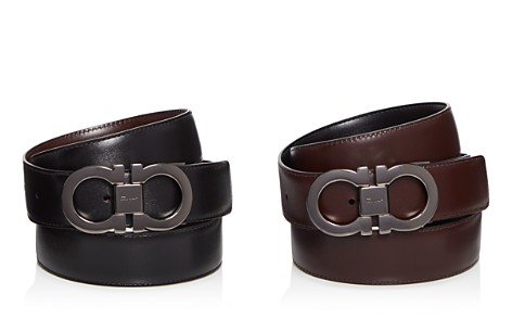 Salvatore Ferragamo Smooth Reversible Calf Belt with Tonal Metallic Double Gancini Buckle - Bloomingdale's_2