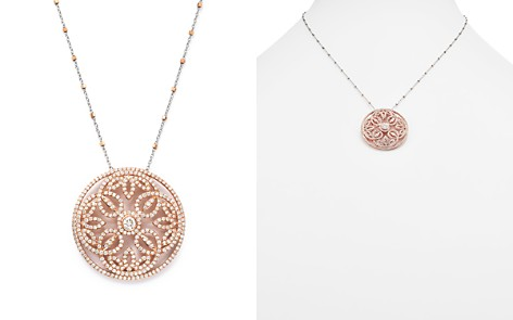 Diamond Pendant Necklace with Diamond Cut Bead Chain in 14K Rose and White Gold, 2.0 ct. t.w. - 100% Exclusive - Bloomingdale's_2