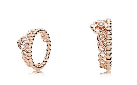PANDORA 14K Gold, Rose Plated & Cubic Zirconia Princess Tiara Rose Ring - Bloomingdale's_2