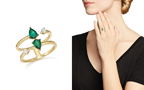 Emerald and Diamond Double Row Ring in 14K Yellow Gold - 100% Exclusive - Bloomingdale's_2