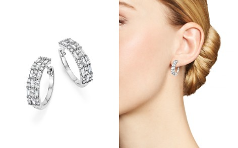 Diamond Round and Baguette Hoop Earrings in 14K White Gold, 1.50 ct. t.w. - 100% Exclusive - Bloomingdale's_2
