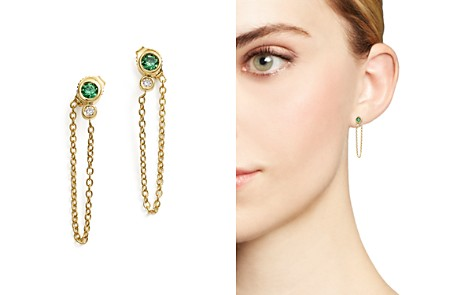 Emerald & Diamond Front-to-Back Chain Drop Earrings in 14K Yellow Gold - 100% Exclusive - Bloomingdale's_2