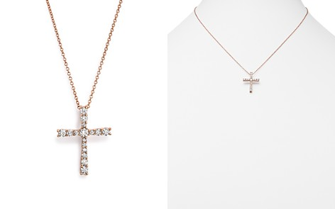 Diamond cross bloomingdales diamond cross pendant necklace in 14k rose gold 50 ct tw 100 aloadofball Image collections