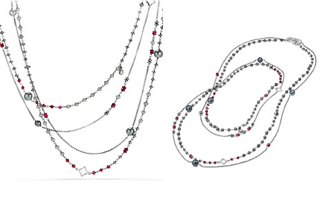 David Yurman Oceanica Two-Row Chain Necklace with Gray Dyed Cultured Freshwater Pearls, Hematine and Rhodolite Garnet - Bloomingdale's_2