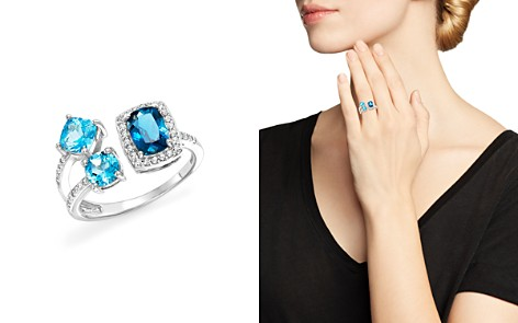 London Blue and Swiss Blue Topaz Open Pavé Diamond Ring in 14K White Gold - 100% Exclusive - Bloomingdale's_2